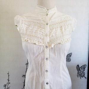 [Passport] Cream Bib Front Button Down Blouse